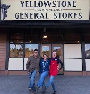 Goofing off in front of the Canyon Village General Store - Yellowstone National Park