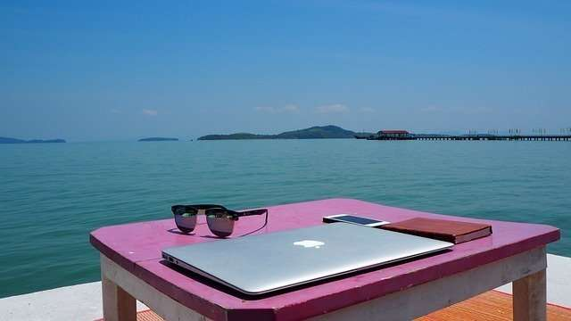 Workspace on the beach